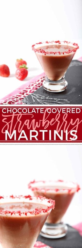 Grab your girls and mix up decadent Skinny Chocolate-Covered Strawberry Martinis! These dairy-free, sugar-free martinis are the perfect drink to serve at your next girls' night or for Valentine's Day! A combination of cashew milk, vodka, crème de cocoa, agave, strawberries and cocoa powder makes these cocktails to-die-for tasty. Naturally sweetened and dairy free, there's a lot to love about these Skinny Chocolate-Covered Strawberry Martinis.