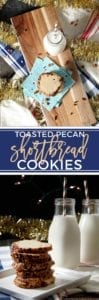 Celebrate the holiday season by baking delightfully simple, yet complex Toasted Pecan Shortbread Cookies. This twist on a classic is elevated by the addition of toasted pecans to the outside of the cookies. Cream butter, maple syrup and powdered sugar together before adding flour and salt to make the cookie dough. Coat the dough with toasted pecans, then chill. Slice and bake when ready for the perfectly crunchy, slightly sweet Christmas cookie. #sweetestseasoncookies