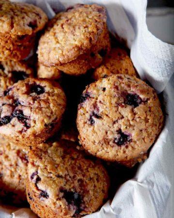 Basket of Lemon Blueberry Muffins