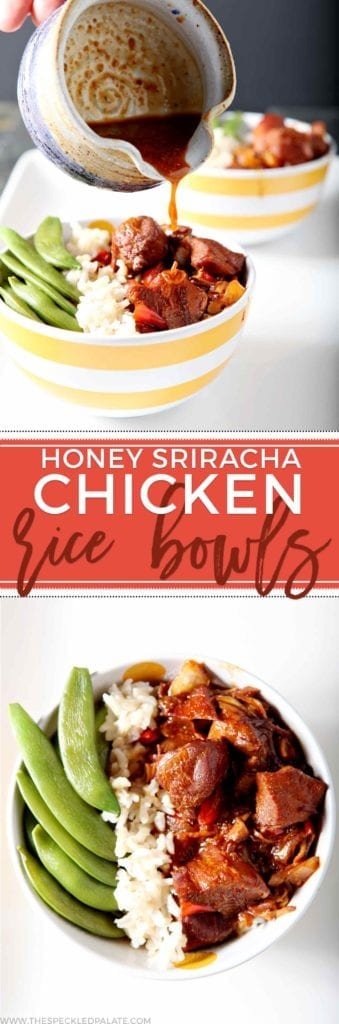 Enjoy flavorful Honey Sriracha Chicken Rice Bowls for dinner this week! Place the chicken, onion and red bell pepper in the slow cooker with honey, soy sauce and water. Cook for 4 hours. Steam brown rice and snow peas, then layer the rice, chicken and its sauce and snow peas in a bowl for serving. Slightly sweet with a zing of spice, Honey Sriracha Chicken Rice Bowls make a well-loved, simple and healthy weeknight meal for the whole family.