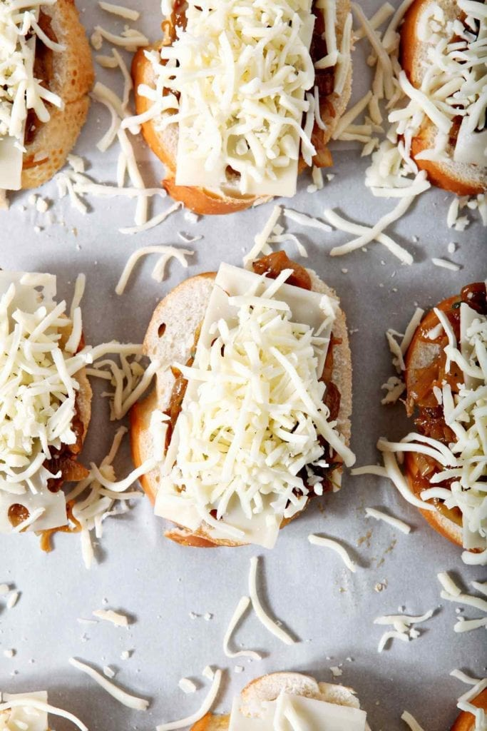 Wow friends and family with this ooey, gooey, cheesy mash-up: French Onion Bruschetta! Onions cook down and caramelize before soaking up beef broth. Season with thyme, then scoop the onions onto sliced bread. Sprinkle with two types of Borden® Cheese and broil until browned and gooey. The creamy caramelized onions and cheese pair beautifully with crusty bread. French Onion Bruschetta is sure to become a new favorite appetizer or entree.