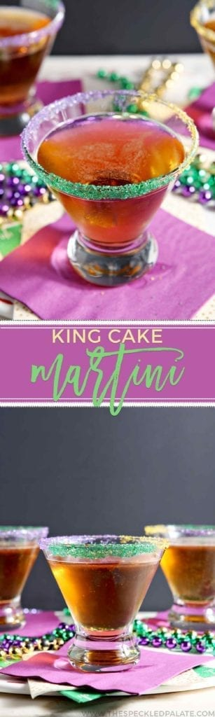 Collage of two images showing a close up of a martini rimmed with purple, green and yellow sugar and three drinks on marble with the text 'king cake martini'