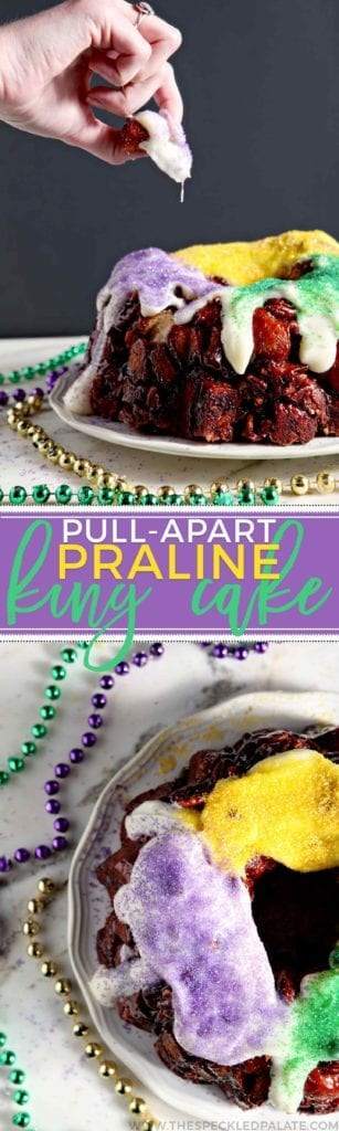 Celebrate Mardi Gras without spending hours in the kitchen with a Praline Pull-Apart King Cake! This quick king cake substitutes store-bought cinnamon rolls for homemade dough and pulls apart like monkey bread. Halve the cinnamon rolls, then toss in sugar, cinnamon and pecans. Bake in a bundt pan with a gooey praline sauce. Flip onto a platter and serve warm with a homemade cream cheese icing and colored sugar. Laissez les bons temps rouler! #ad