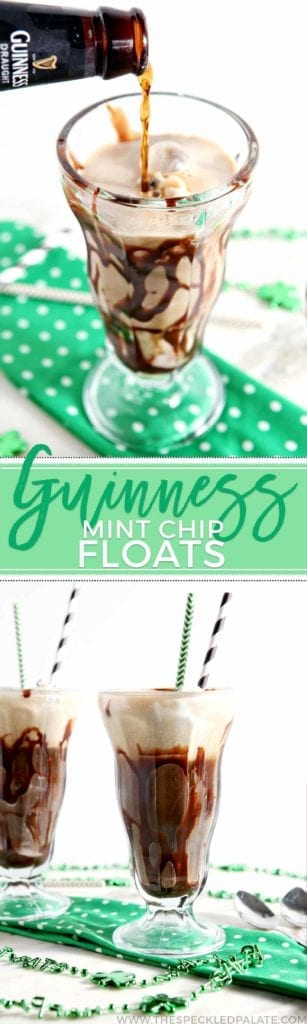 Collage of two images showing beer floats from two different angles with the text 'guinness mint chip floats'