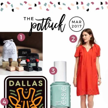 Continuing the monthly tradition, The Speckled Palate's The Potluck: March 2017 includes a new favorite springtime dress, a birthday celebration, a children's book, a nail polish color and more. Swing by the blog today to get a full list of the things I adored during the month of March.