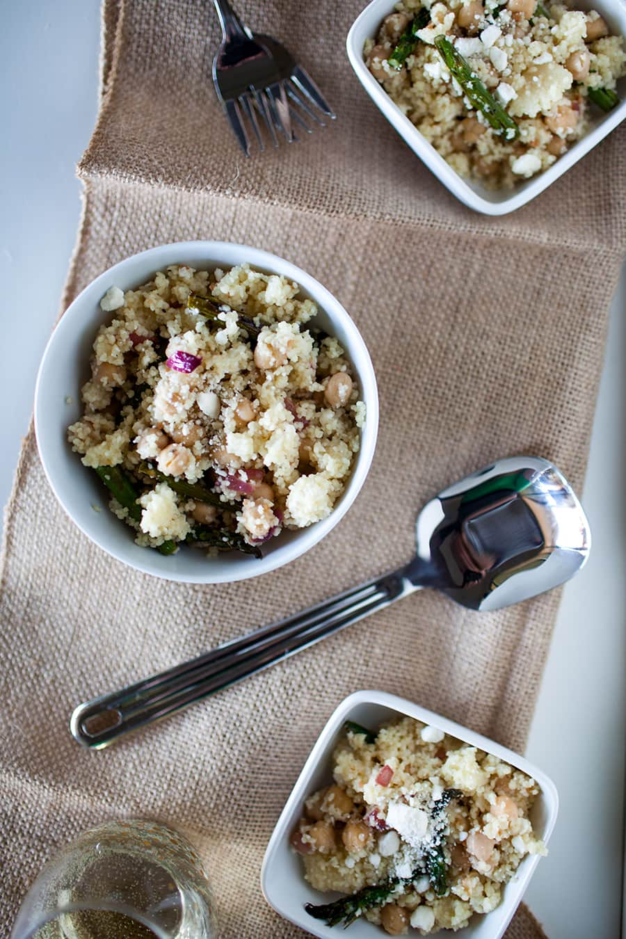 Asparagus Chickpea Mediterranean Couscous Salad from A Joyfully Mad Kitchen