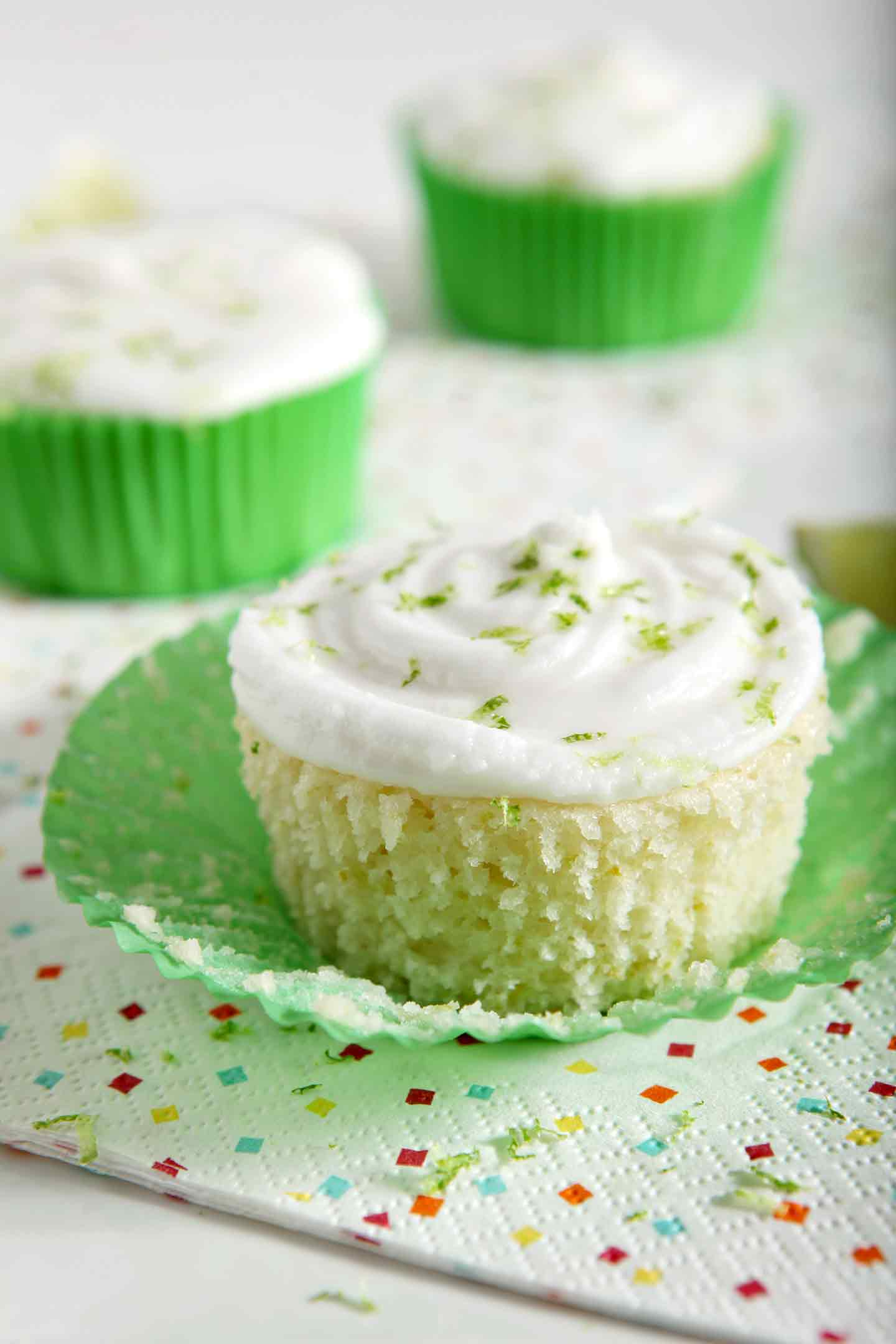 Closeup image of Margarita Cupcakes on a platter
