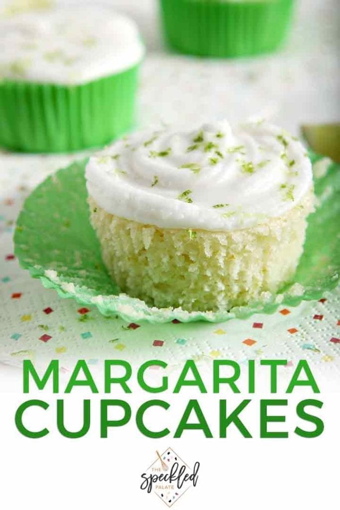 Close up of Margarita Cupcakes with Salted Tequila Frosting with Pinterest text
