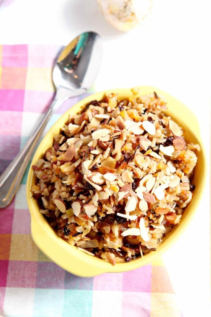 Vegan Wild Rice Salad with Dried Fruit and Almonds makes a sweet-savory side dish for Easter, Thanksgiving, Christmas, dinner parties and more! #recipe #Easter #Christmas #Thanksgiving #holiday #side
