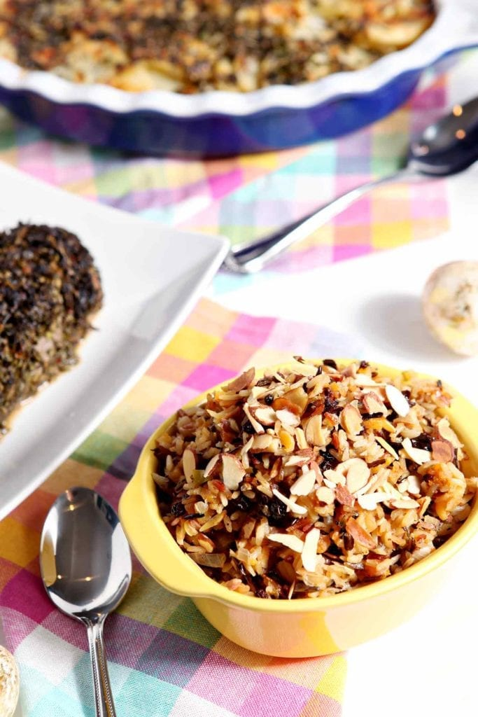 Vegan Wild Rice Salad with Dried Fruit and Almonds makes a sweet-savory side dish for the holidays! #recipe #Easter #Christmas #Thanksgiving #holiday #side