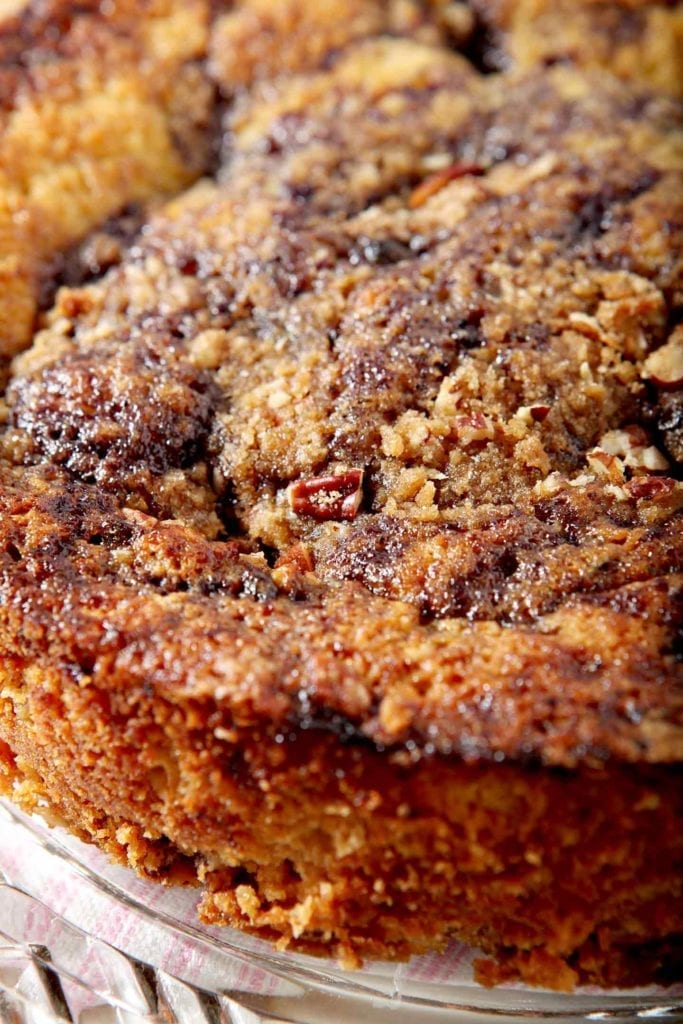 Close up of the streusel cooked into the baked good