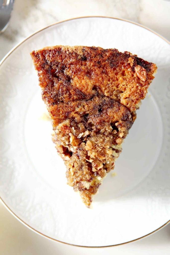 A slice from above, focused on the streusel topping