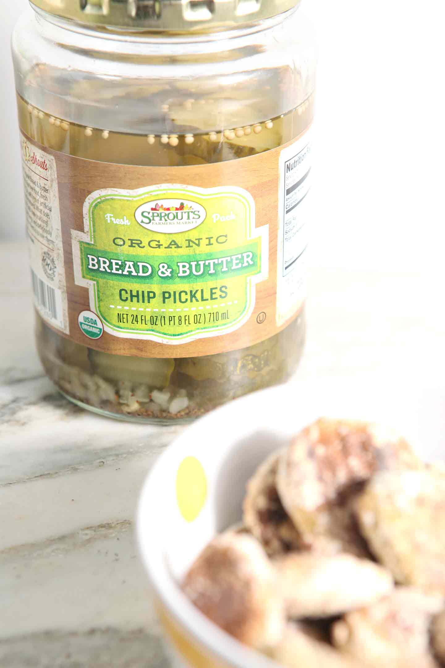 Close up of Sprouts Organic Bread & Butter Chip Pickles