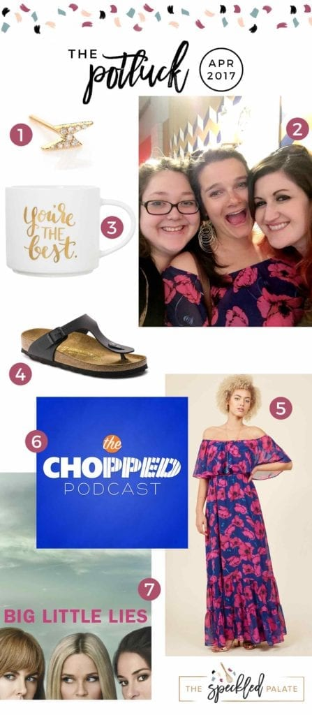 Continuing the monthly tradition, The Speckled Palate's The Potluck: April 2017 includes a few trips, a podcast recommendation, an old favorite pair of shoes, a new favorite pair of earrings, a TV show and more. Swing by the blog today to get a full list of the things I adored during the month of April.