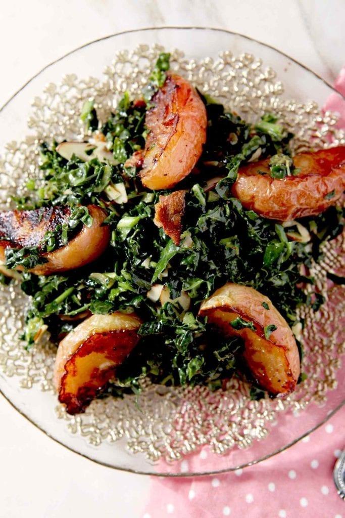 close up of bacon apple salad