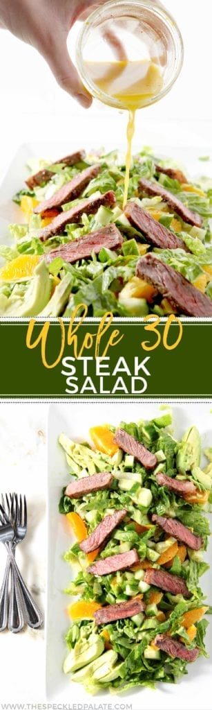 Wow the crowd this summer with Whole30 Steak Salad with Orange Vinaigrette! This Paleo and Gluten Free recipe makes the perfect summer appetizer or meal. #recipe #Whole30