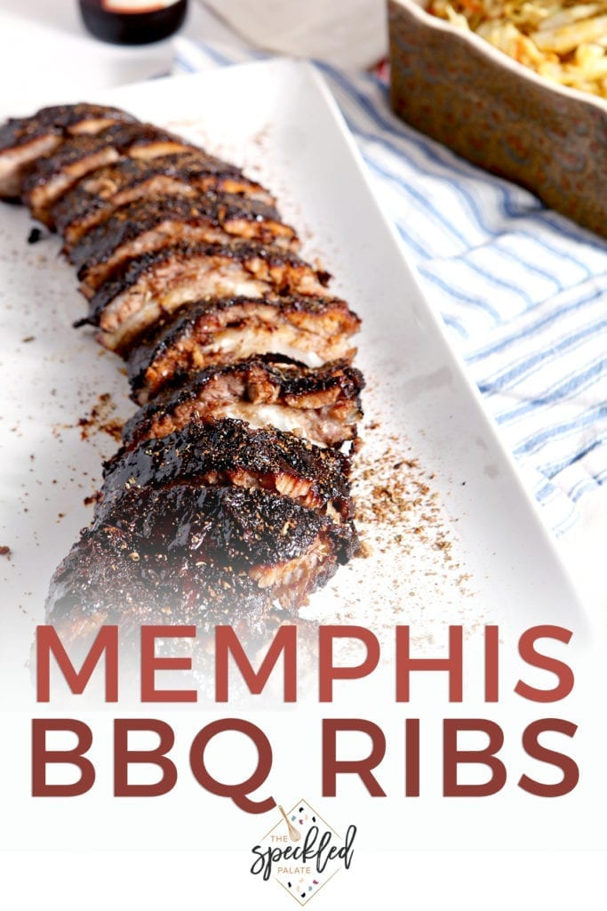 A rack of Memphis-style BBQ ribs on a platter, with Pinterest text