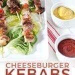 Pinterest image, showcasing a close up of Cheeseburger Kebabs