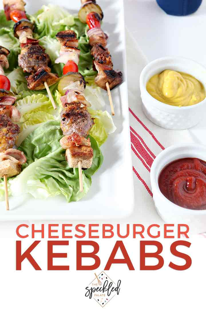 Pinterest image, showcasing a close up of Cheeseburger Kebabs