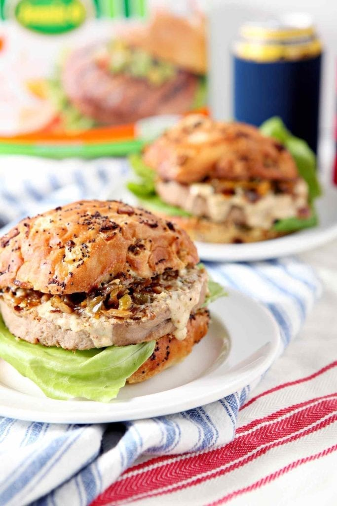 cajun turkey burgers on white plates
