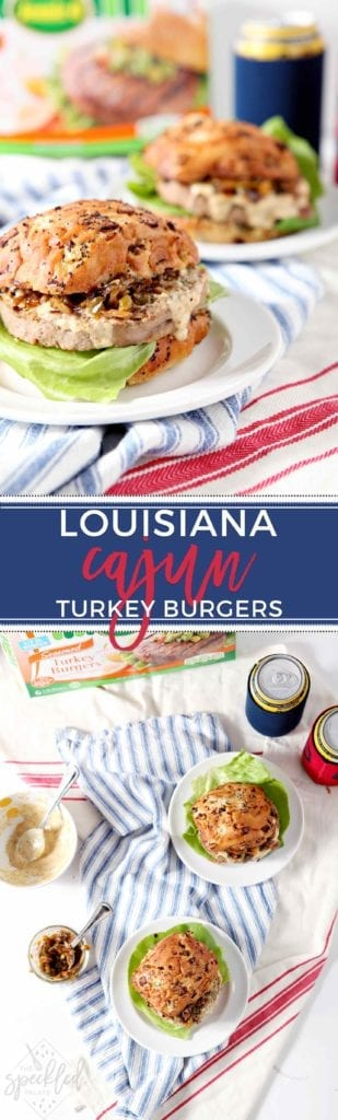 Fire up the grill and serve Louisiana Cajun Turkey Burgers with Étouffée Relish and Creamy Cajun Sauce! These burgers will be a summertime hit! #ad #SwitchCircle