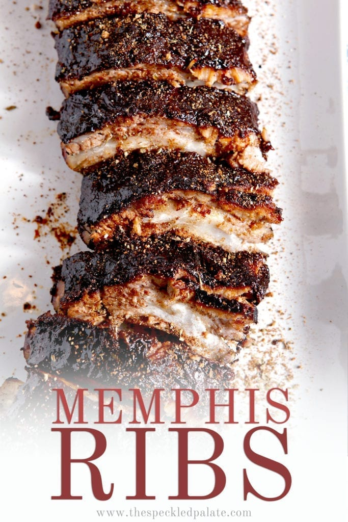 Close up of BBQ Ribs, with Pinterest text