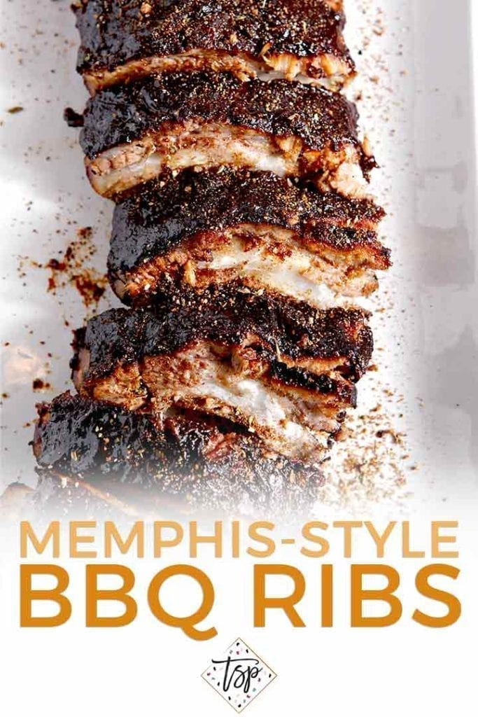 Pinterest graphic for Memphis-Style Barbecue Ribs, showing a close up of ribs