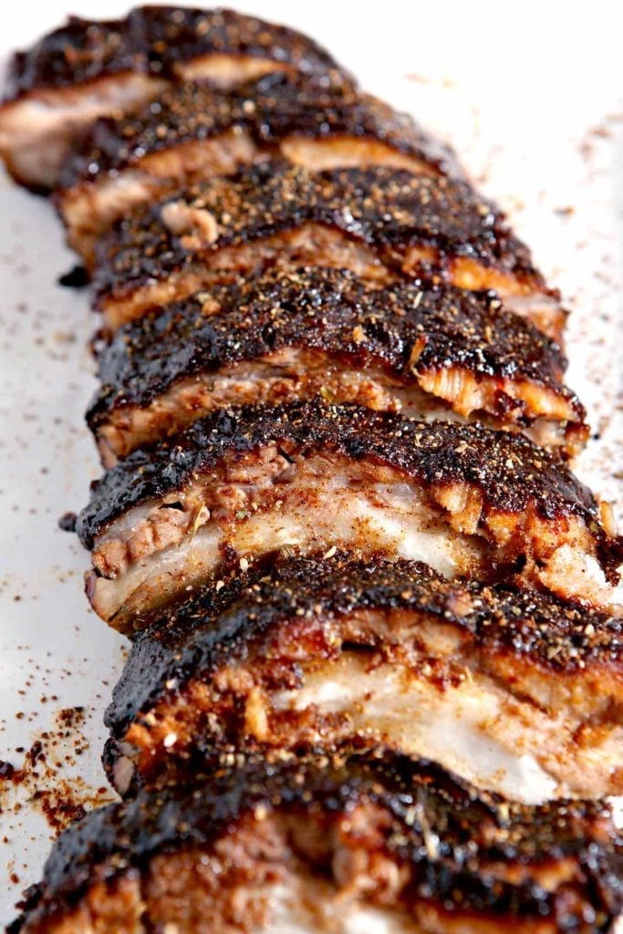 Close up of Memphis-Style Barbecue Ribs on a platter