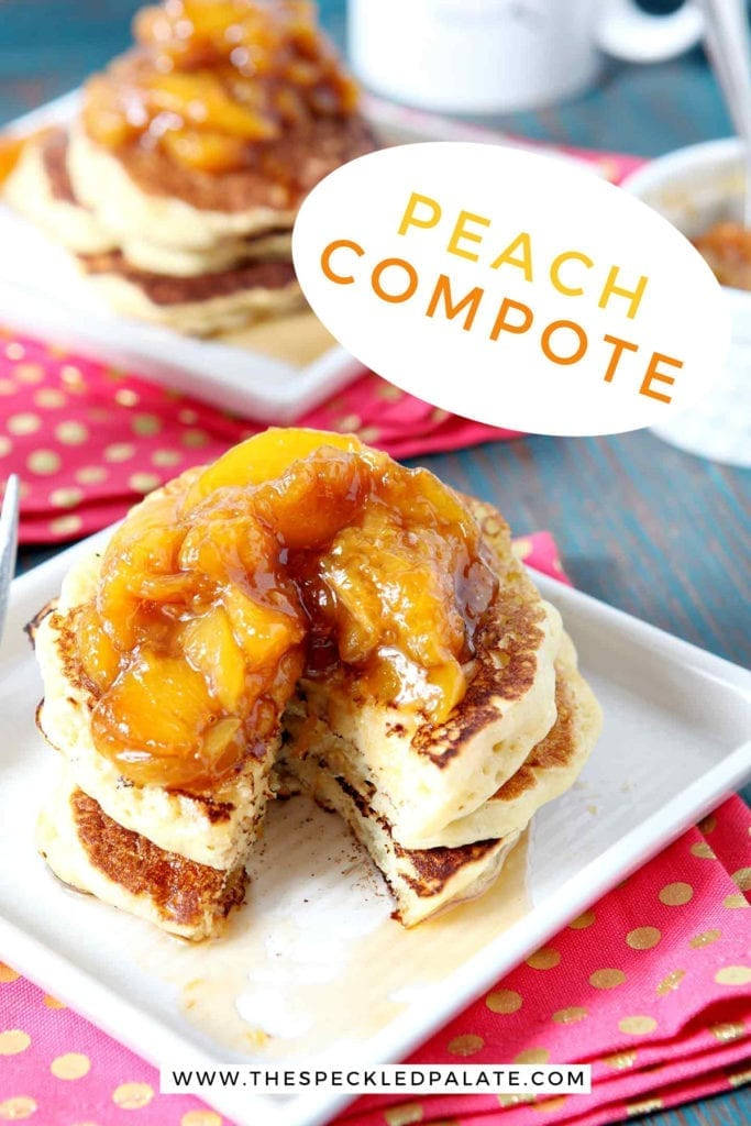 A stack of pancakes is topped with Peach Compote, with Pinterest text