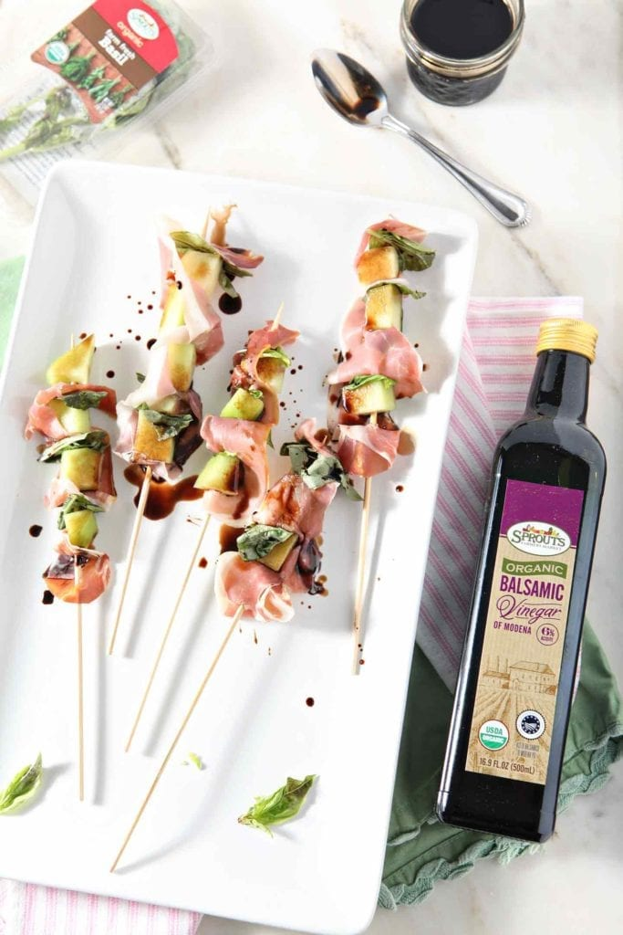 Galia Melon Jamón Skewers make a perfect summer app! This dairy free, gluten free and paleo-friendly Whole30 appetizer is a delicious start for any party. #recipe #Whole30