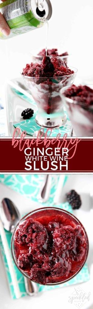 Blackberry Ginger White Wine Slush in cocktail glass