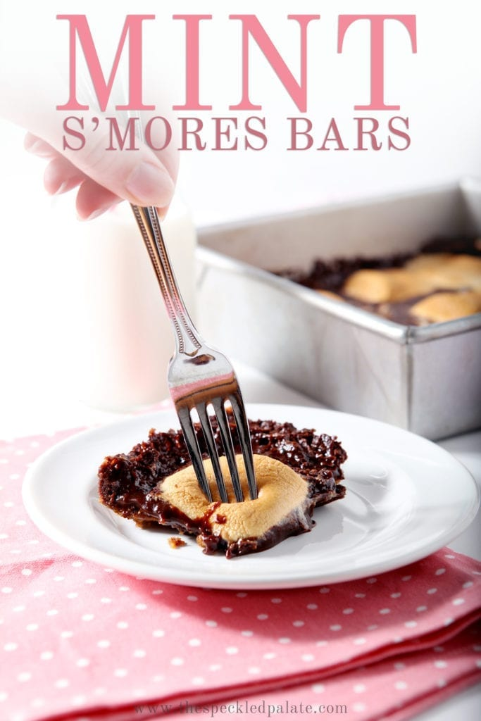 A woman uses a fork to cut into a Mint Smores Bar, with Pinterest text