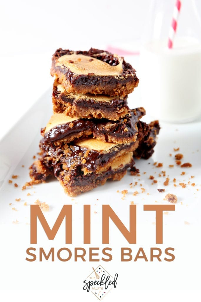 Several Mint Smores Bars are stacked on top of each other, with Pinterest text