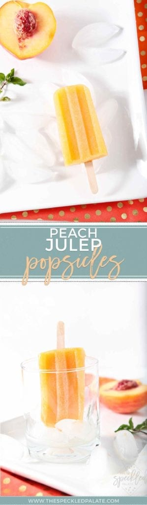 Pinterest collage of two images for Peach Julep Popsicles