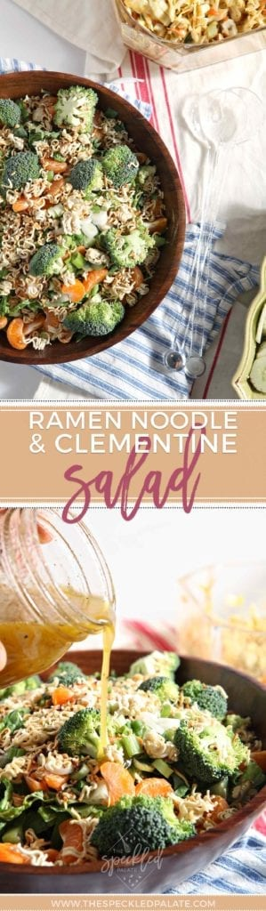 Ramen Noodle and Clementine Salad is a favorite vegetarian side dish that's perfect tailgates, baby showers, barbecues and picnics and more. | Side Dish | Side Salad | Vegetarian Salad | Football Food | Tailgate Recipe | Baby Shower Salad | Brunch Salad | Barbecue Side | Picnic Salad