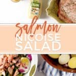 A twist on the French classic, Salmon Niçoise Salad makes a perfect summertime dinner or lunch! Singing of summertime flavors, this salad is sure to be a family favorite! #ad