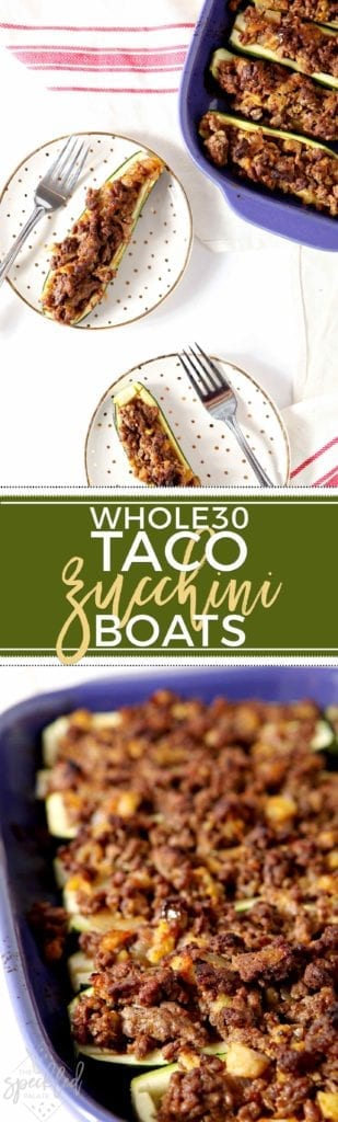 Whole30-compliant Taco Zucchini Boats are insanely flavorful with just the right amount of heat and oh-so-satisfying! The best summer dinner! #recipe #Whole30 #paleo