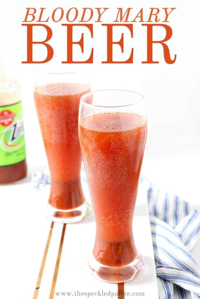 Two Bloody Marys with beer are served on a marble platter, with Pinterest text