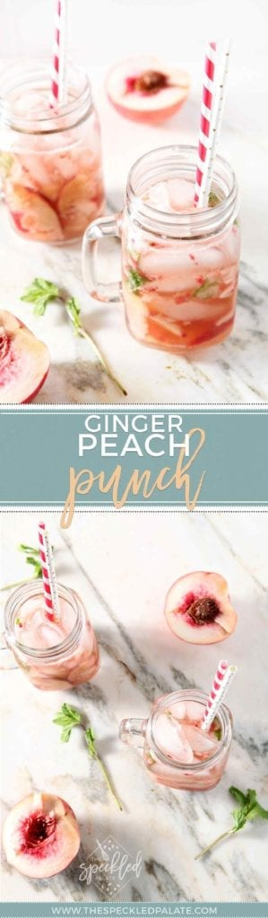 Summer Drink | Nonalcoholic Drink | Easy Drink | Easy Mocktail | Peach Drink | Mint Drink | Easy Entertaining Drink | Baby Shower Drink | Bridal Shower Drink | Summer Refresher | Refreshing Drink