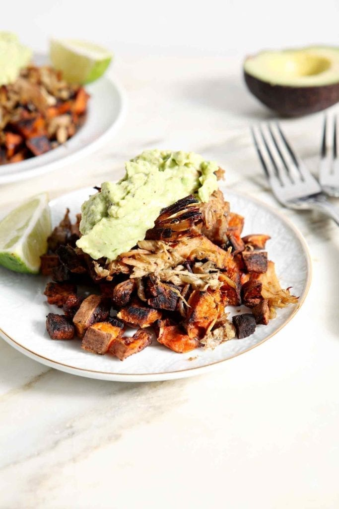 Main: Slow Cooker Pork Carnitas Plates with Sweet Potato Hash and Easy Guacamole