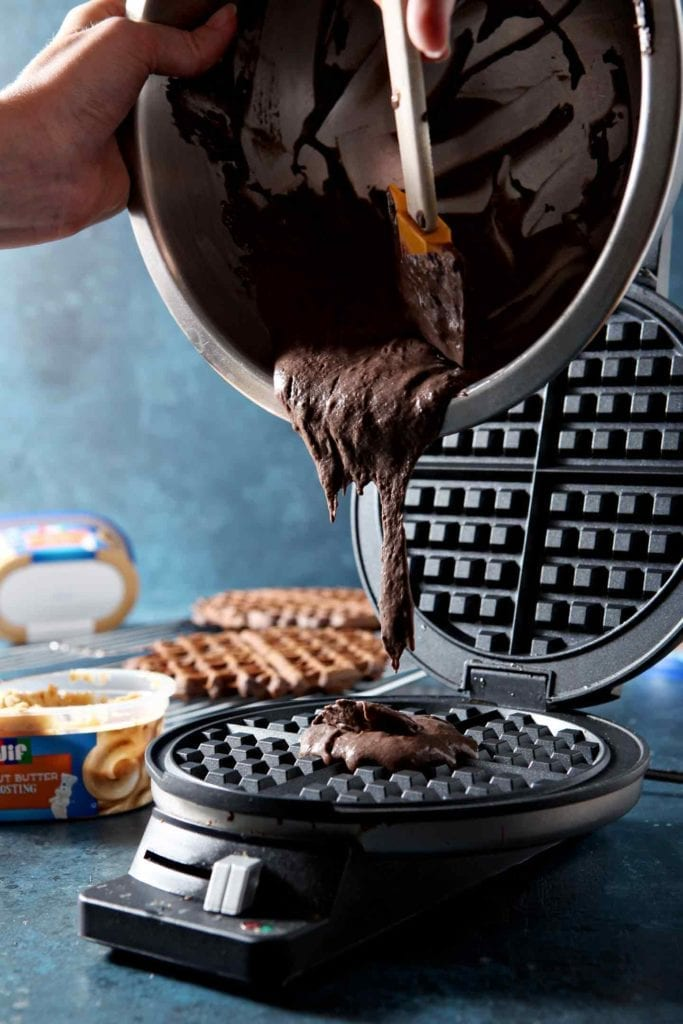 AD | Dessert Waffles | Chocolate Waffles | Waffle Sandwiches | Peanut Butter Frosting | Sweet Waffles | Chocolate and Peanut Butter | Easy Dessert | Simple Dessert | Party Dessert | Decadent Waffles