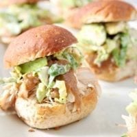 Tuesday's Dinner: Shredded Applesauce Chicken Sliders with Brussels Sprouts Apple Slaw