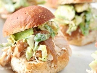 Shredded Applesauce Chicken Sliders with Brussels Sprouts Apple Slaw