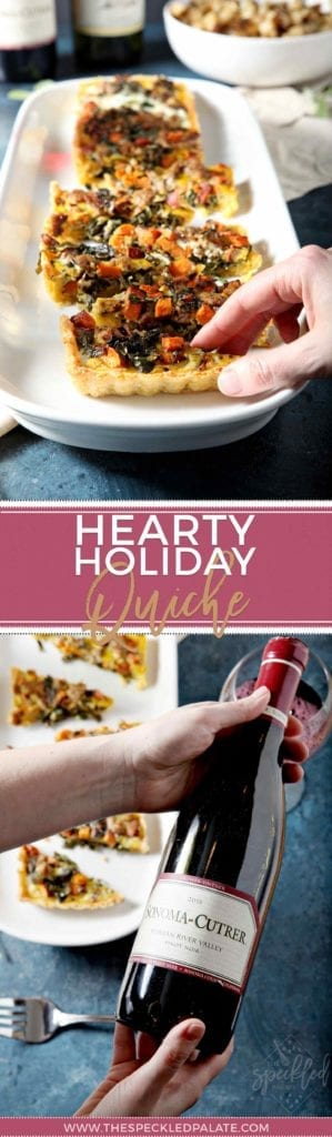 Hearty Holiday Quiche on White Serving Plate