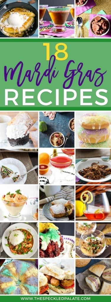 Collage featuring 18 Mardi Gras recipes and Pinterest text