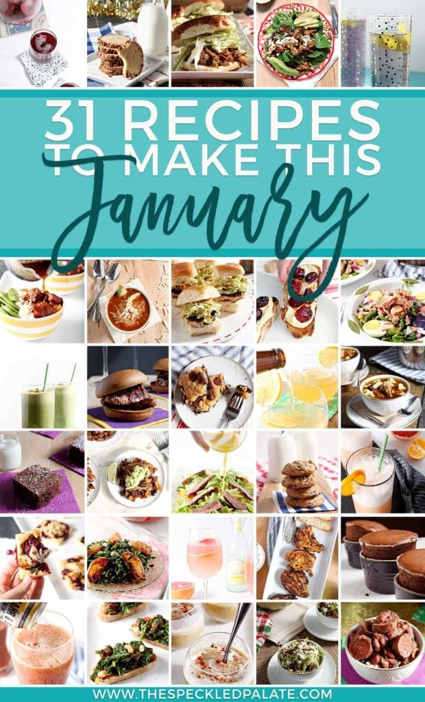 Collage of 31 food and drink recipes for January
