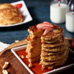 Peanut Butter Pancakes with Raspberry Preserves Syrup
