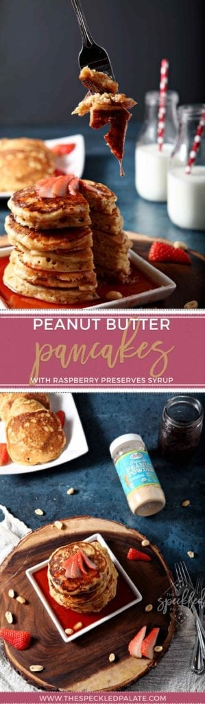 Peanut Butter Pancakes with Raspberry Preserves Syrup is a THING, and it makes the ultimate breakfast treat! | Peanut Butter Pancakes | Peanut Butter Breakfast | Pancakes | Homemade pancakes | Peanut butter and jelly pancakes | PB&J pancakes | PB&J breakfast | #ad