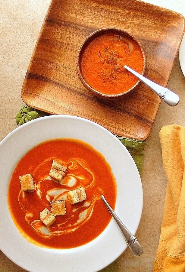 Cajun Spiced Tomato Soup (with grilled cheese and bacon croutons) from Pastry Chef Online
