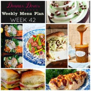 Dinner Divas Weekly Meal Plan (Week 42) Recipe Collage, which includes five dinners and two desserts